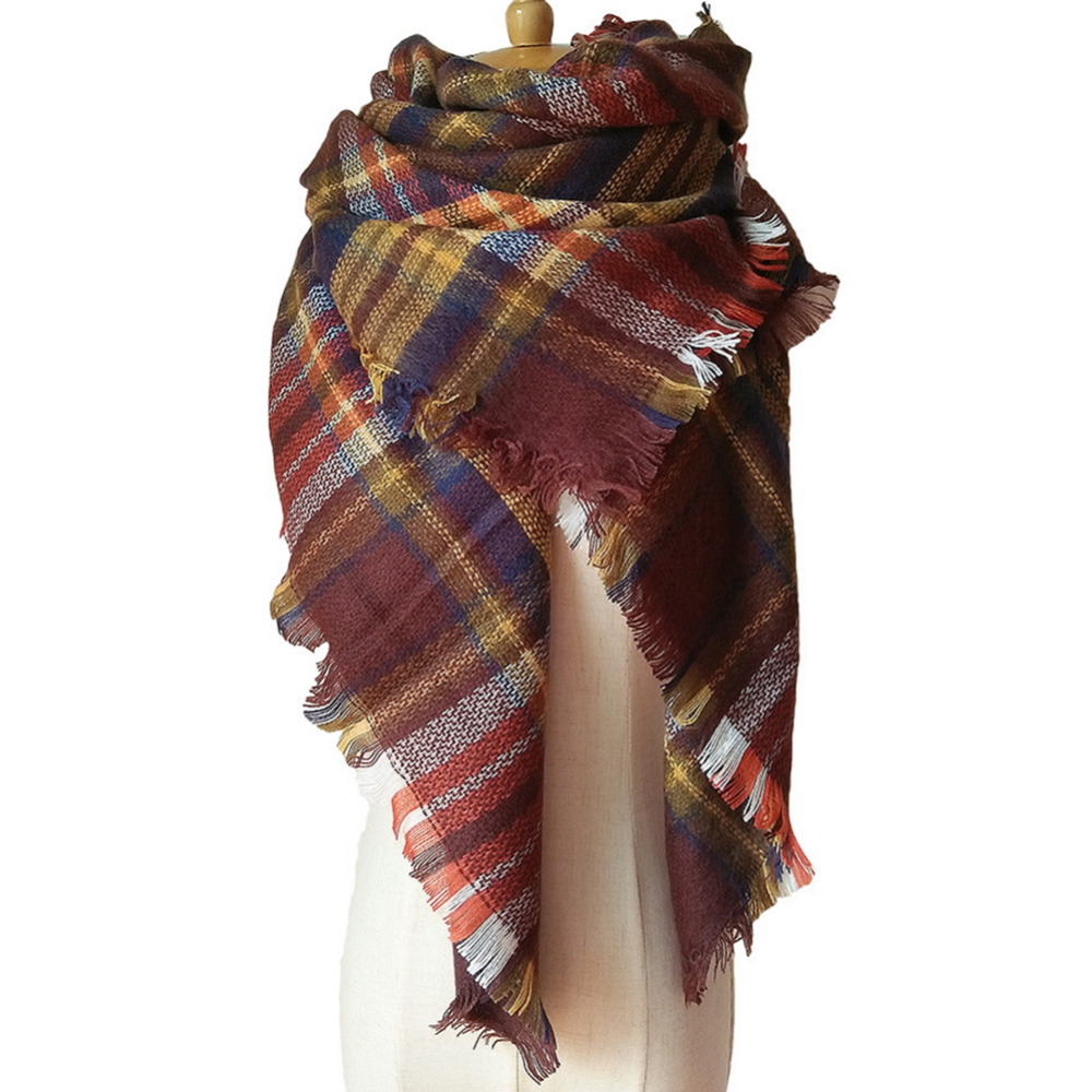 2017 New Plaid Women Scarf Warm Winter Scarf Women Blanket Shawls Soft Triangle Scarf Scarves Large Luxury Brand cachecol hijab