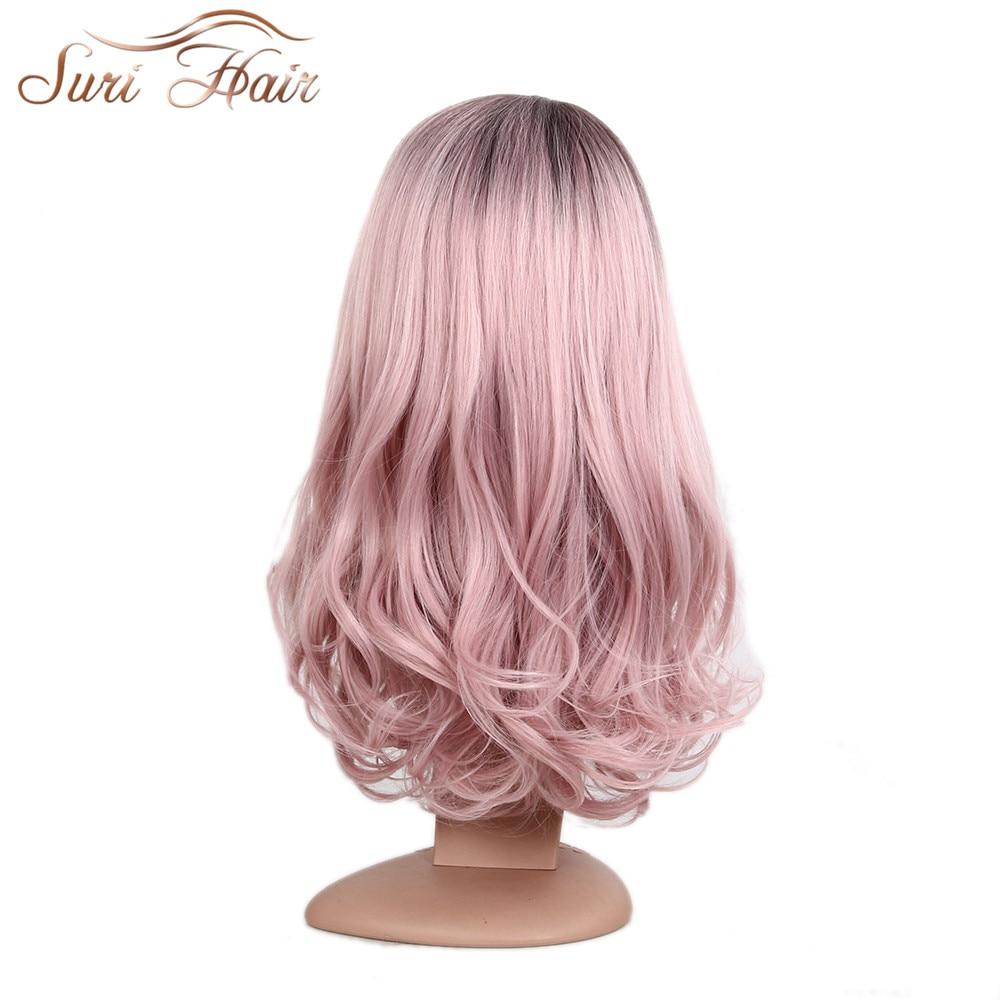 Suri Hår lång kroppsvåg ombre rosa-lila peruker 22 tums sidodel - Syntetiskt hår - Foto 5