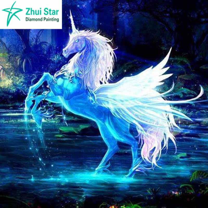 3d Moving Galaxy Wallpaper Diamond Embroidery Pegasus Unicorn Paintings Crystal 5d