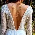 Sexy Bikini Long Necklace Body Chain Bare Back Crystal Backdrop Necklace Back Chain Backless Dress Accessories Bridal Jewelry
