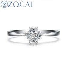 ZOCAI яркое сердце Луны 0,13 карат натуральный Сертифицированный H/SI алмазное обручальное кольцо круглой огранки 18K белое золото ювелирные изделия W02960