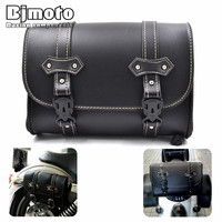 Bjmoto Universal Motorcross Saddle Luggage Leather Storage Tool Pouch bag for Harley Davidson Motorcycle Saddlebag