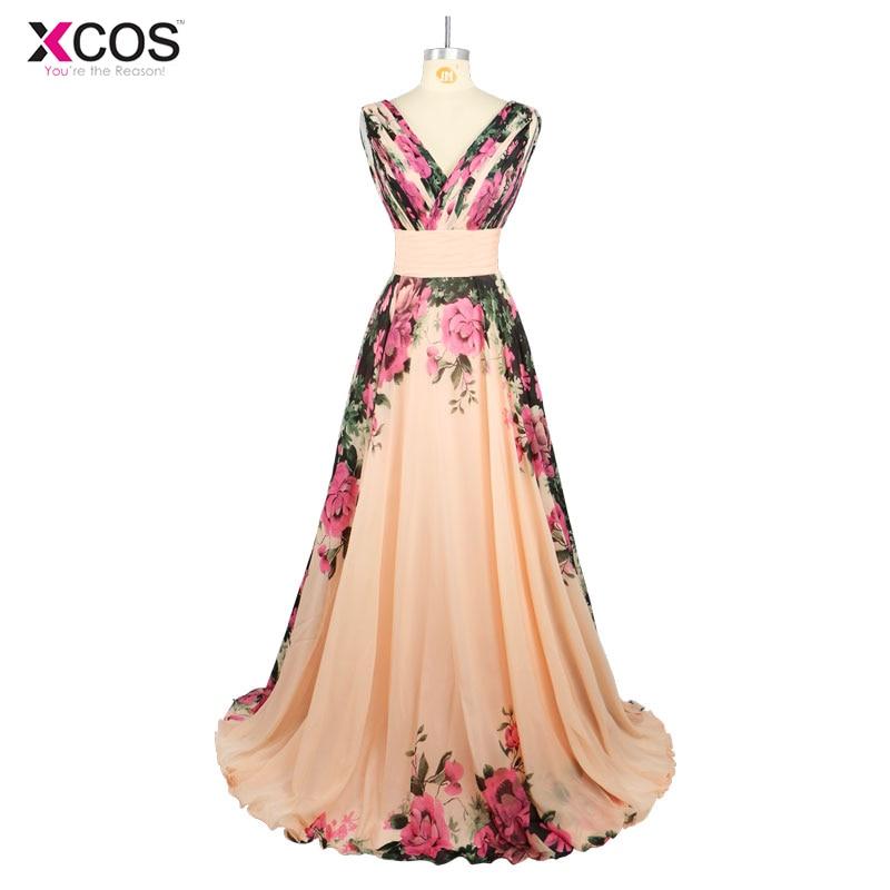 Robes de soirée Stock col en V motif fleur imprimé Floral en mousseline de soie robe de soirée robe de soirée longues robes de bal 2018