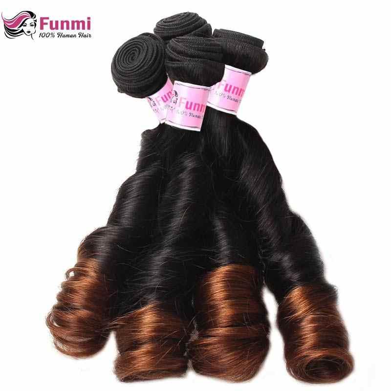 Paquetes de pelo humano Funmi Ombre paquetes de pelo brasileño 1B 4 paquetes de pelo virgen sin procesar