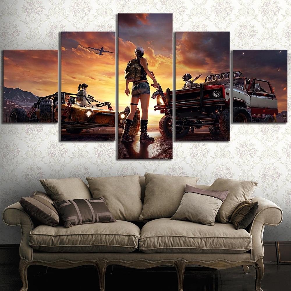 5 Piece PUBG Game Art Landscape Poster Decorative Paintings for Living Room Decor