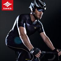 Santic Men Cycling Jersey Short Sleeve Extreme Fit Water Diffusible Fabric Seamless Cuff best Fabric Road Bike Cycling Clothings