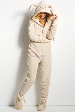 Winter woman's Rabbit/fox onesie one piece  jumpsuit  kawaii Zip Hoodies pajamas 0.75KG