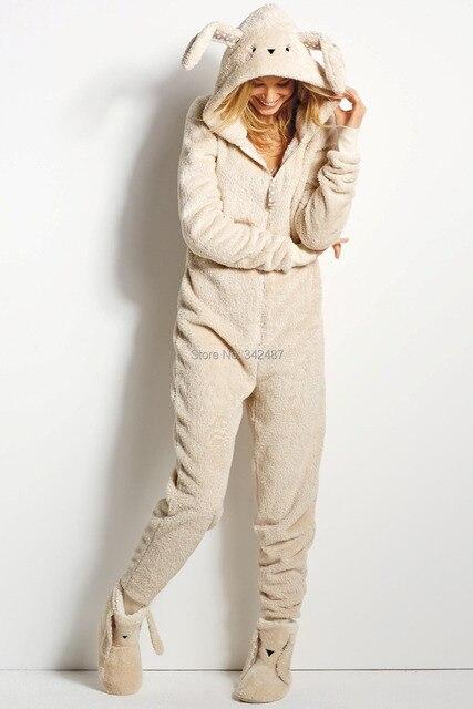 55c1aae9b424 Winter woman s Rabbit fox onesie one piece jumpsuit kawaii Zip ...