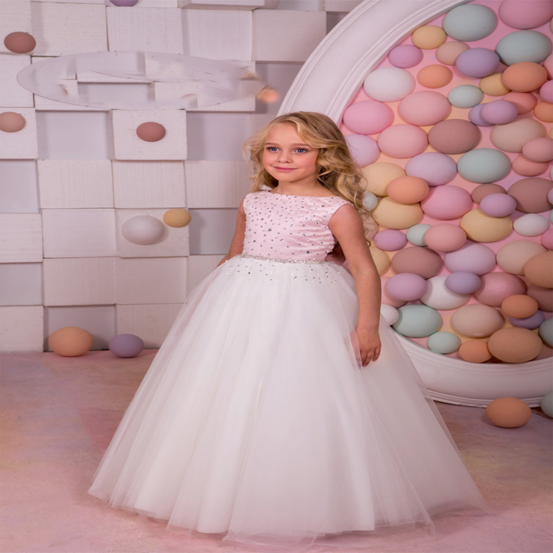 Sleeveless Flower Girl Dress For Wedding Ball Gown Dress Kids Clothes Toddler Children Events Hade Make Mother Daughter Dresses gril flower dress multi storey white clothes stage girl performance children show clothes for dance with a pair of glove