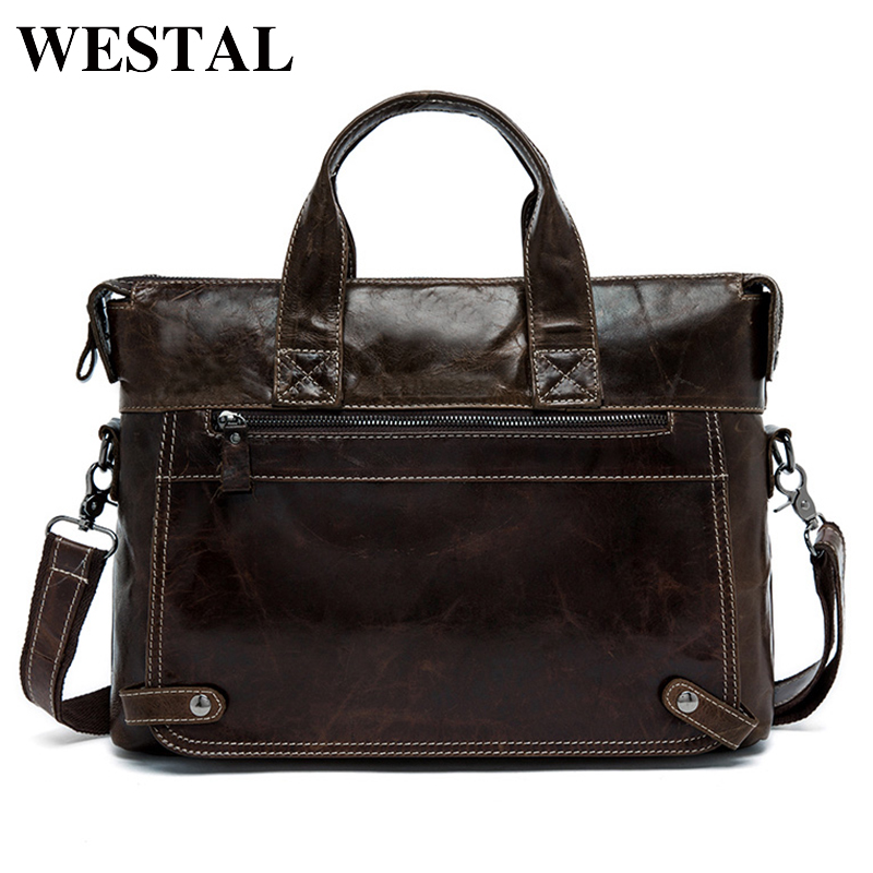 WESTAL Briefcase Men Leather Handbags Genuine Leather Laptop Crossbody Bags For Men Messenger Shoulder Bag Business 9103 motorcycle auxiliary fog lights protect cover safety driving lamp for bmw k1600 r1200gs adv f800gs auxiliary lights