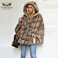Real Fur Coat New Arrive Bat Type Jacket Women Natural Mink Fur Coats With Belt Light Gray Mink Fur Coat Autumn Winter Fashion