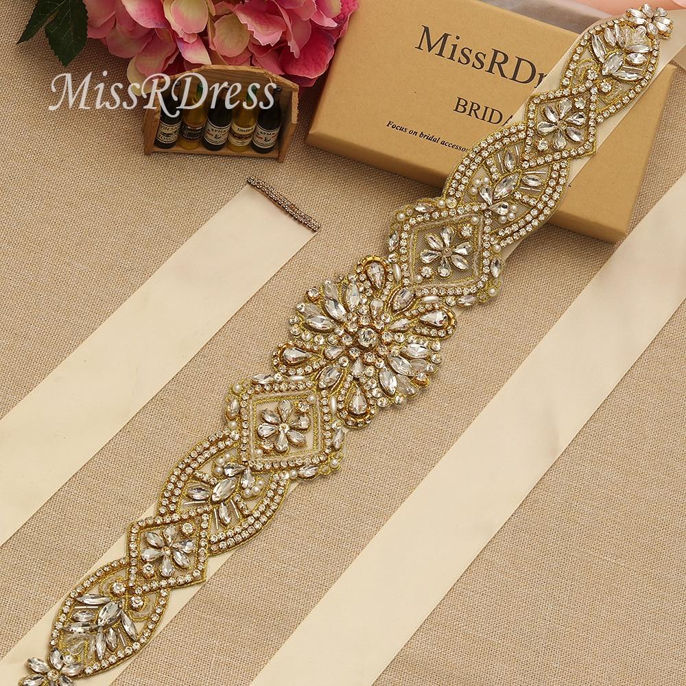 MissRDress schitterende bruidsjurk riem goud kristal strass linten - Bruiloft accessoires - Foto 1