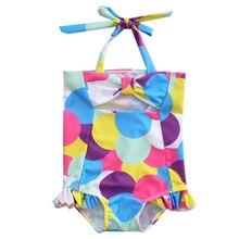 One piece Lovely Kids Baby Girls Colorful Polka Dot Ruffle Tankini Bikini 2017 New Swimwear Swimsuit Bathing Suit Beachwear