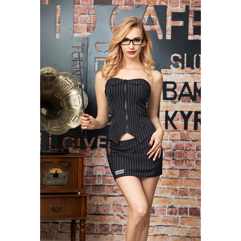 Striped Zipper Tops Mini Skirt Erotic Costume Transparent Teacher Instructor Cosplay Sexy Costume Lenceria Sexy Lingerie