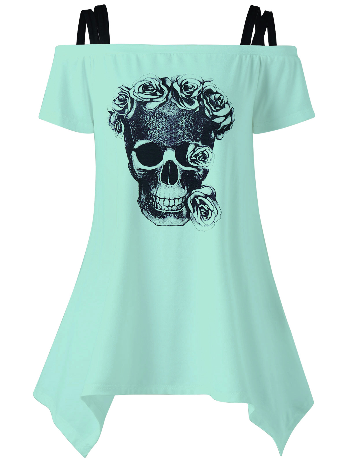 Women Blouses Shirts Skull Print Shirts Off Shoulder Female Tunic Mujer Sexy Women Tops LJ9615M