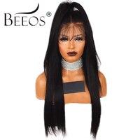 BEEOS 250% Densité Avant de Lacet Perruques de Cheveux Humains Pré Pincées brésilienne Remy Cheveux Raides Perruques Humaines Pour Les Femmes Noires Blanchis noeuds