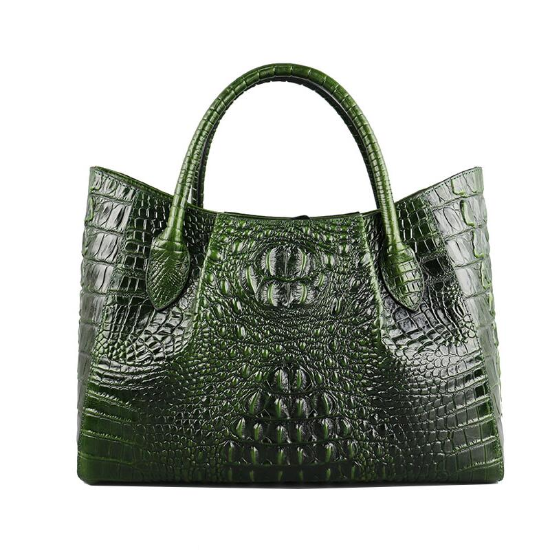 все цены на Famous brand top quality dermis women bag Commuter Business Bags 2018 new fashion shoulder Messenger Bag Crocodile grain handbag