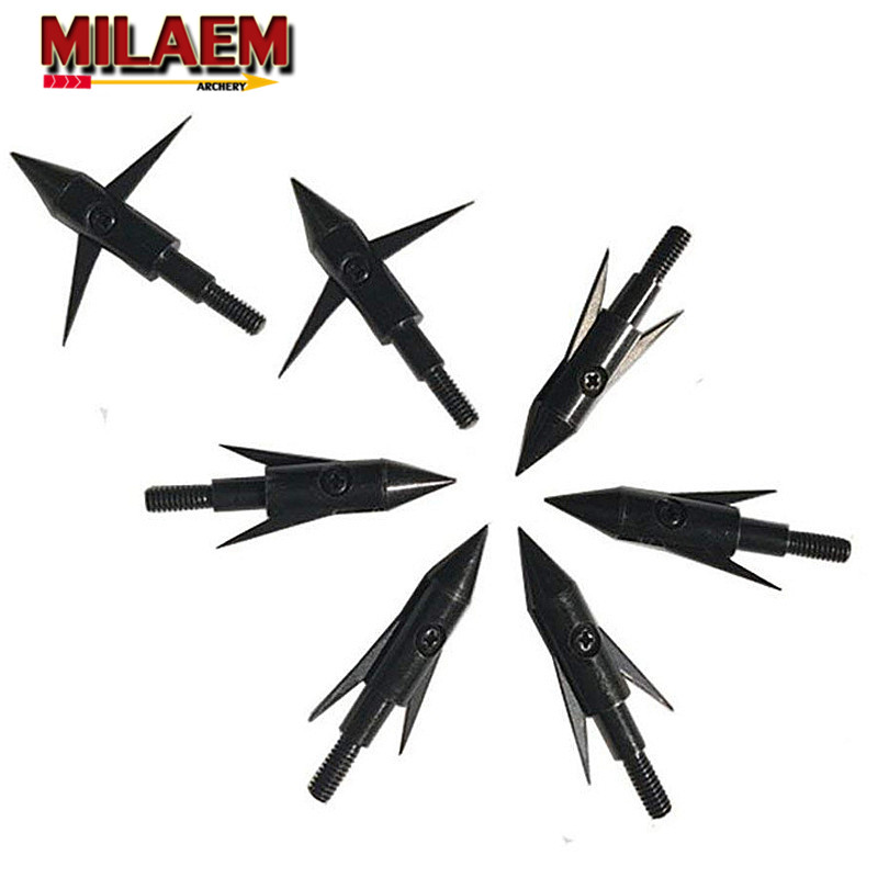3/6/12Pcs Broadhead 2Blades Fishing Arrowhead Tips Point