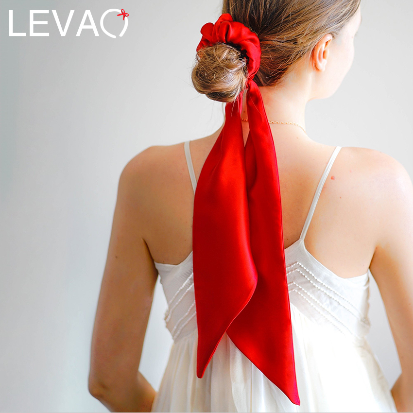 Levao New Fashion Women Hair Accessories Red Satin Bandwidth Hair Bow Scrunchies Multi-color Detachable Temperament Scrunchies