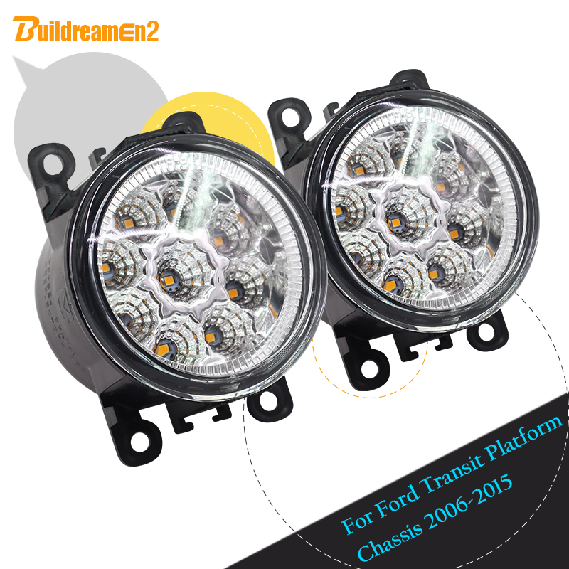 Buildreamen2 For Ford Transit Platform Chassis 2006-2015 Car LED Light Fog Light DC 12V Daytime Running Light DRL H8 H11 1 Pair фаркоп aragon на ford transit not for chassis with cab sauf pick up 04 2000 тип крюка g г в н 2500 80кг e2005cg