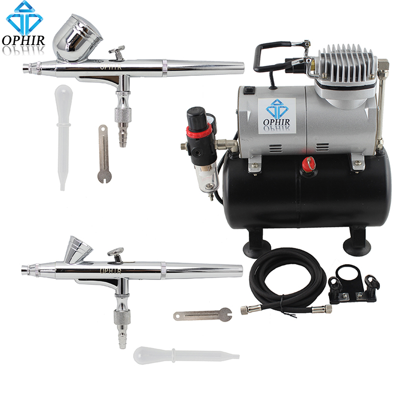 OPHIR 2-Dual Action Airbrush Kit with Air Tank Compressor for Nail Art Makeup Cosmetic Body Paint Air Brush Gun_AC090+004A+073 ophir portable airbrush kit with mini air compressor for airbrush cosmetic makeup professional air brush nail tools ac123r ac004