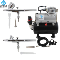 OPHIR 2 Dual Action Airbrush Kit with Air Tank Compressor for Nail Art Makeup Cosmetic Body Paint Air Brush Gun_AC090+004A+073