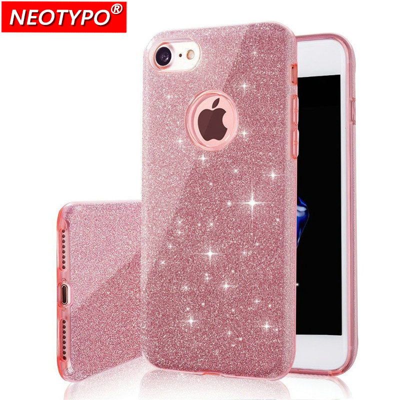 Newest 3 IN 1 Gradient Cover for iPhone 6 6S Plus 5S Case Glitter Clear PC+TPU Coque 7 8 plus X Cases Bling For iphone 6s plus ...