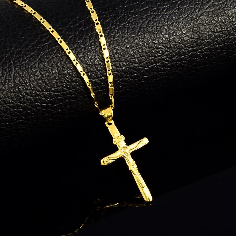 Högkvalitativa kors charm halsband för kvinnor Män 24K gula halsband bröllops smycken