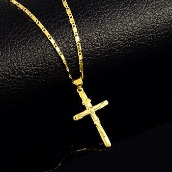 Wysokiej jakości wisiorek krzyż wisiorek naszyjniki dla kobiet mężczyzn 24K żółty naszyjniki biżuteria ślubna
