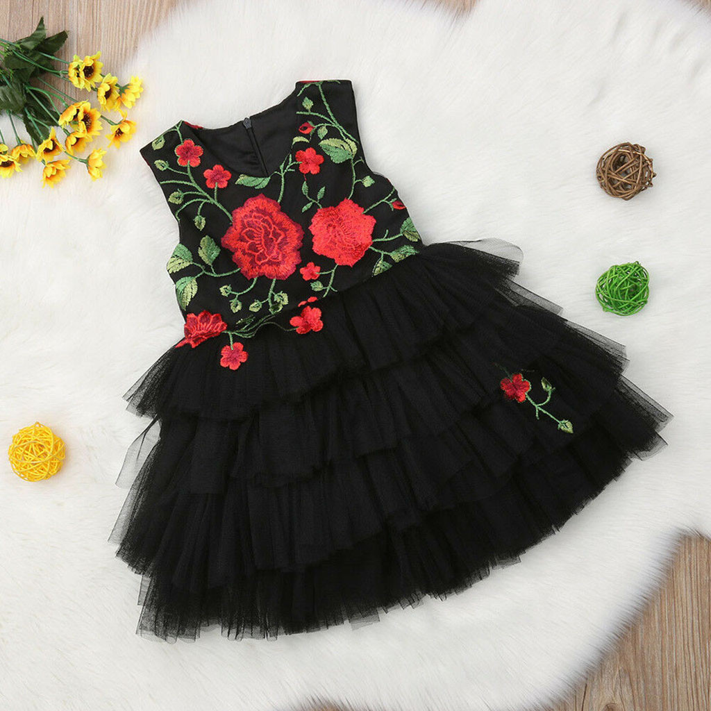 Kids Girl Sleeveless Dress Toddler Kid Baby Girl Princess Flowers Embroidery Multi-layer Tutu Tulle Party Dress Vacation ClothesKids Girl Sleeveless Dress Toddler Kid Baby Girl Princess Flowers Embroidery Multi-layer Tutu Tulle Party Dress Vacation Clothes