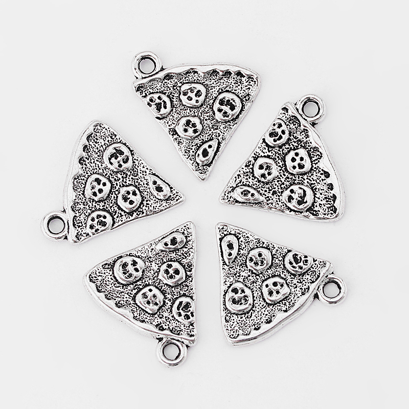 20pcs Antique Silver Fashion Pizza Shape Charms Pendant for Necklace Bracelet Making Parts DIY Jewelry Making Accessories Bijoux