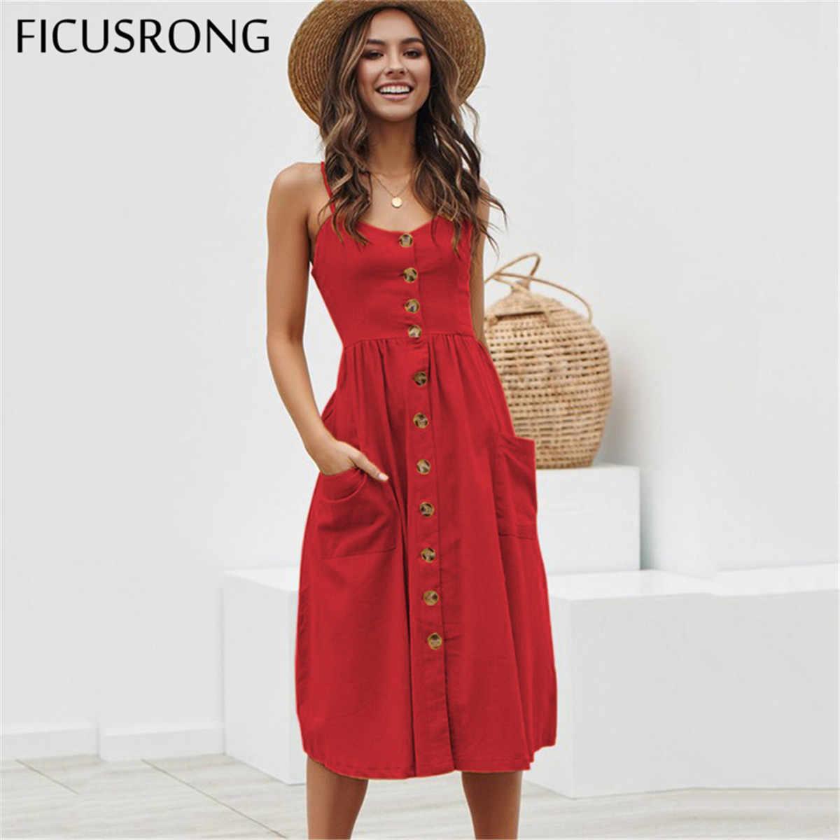 Женское платье на элегантных кнопках красное Хлопковое платье миди в горошек 2019 летнее повседневное женское пляжное платье больших размеров