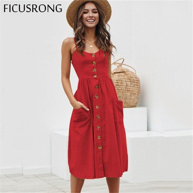 Mujer Talla Vestidos Casual Playa Ficusrong Mujeres Lunares 2019 Botón Verano Elegante Grande Vestido Señora Rojo Algodón Midi O8Pnk0w