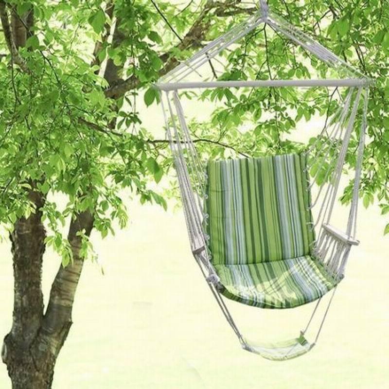 цена на Hamaca sillonde jardin colgante silla asiento acolchado y de rayas camping playa OP1848