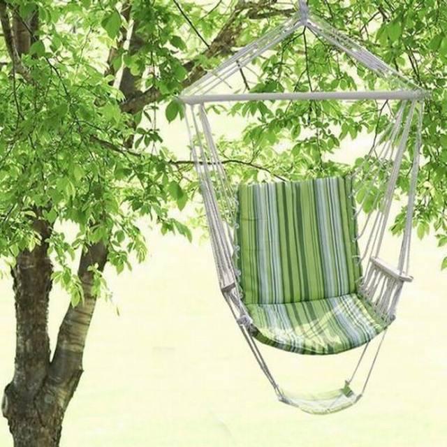 Hamaca sillonde jardin colgante silla asiento acolchado y de rayas camping playa OP1848