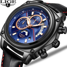 лучшая цена 2018 New LIGE Business Men Watches Top Brand Luxury Leather Original Design Quartz Watch Men Casual Military Waterproof Watch