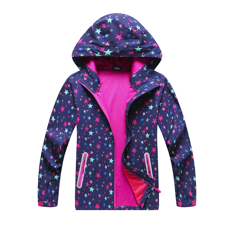 Waterproof Outfits Child Tech Coat Warm Baby Girls Soft Shell Jackets Children Outerwear Kids Windbreaker For 5-14 Years Old
