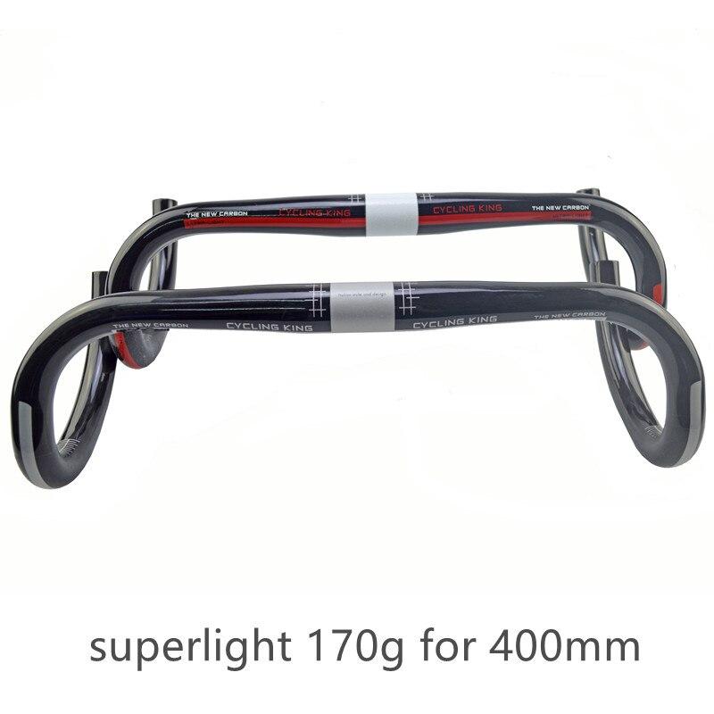 Цена за Классический велоспорт король полный Углерода дорожный велосипед руль согнут бар Велосипедных частей superlight велоспорт parts172g 31.8*400/420/440*31.8 мм