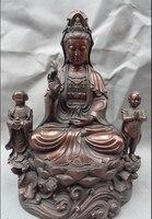 """12 """"Chiński Czysta Brązu Buddyjski Posąg Bogini Kwan yin Guan Yin Kid Dziecko w Posągi i rzeźby od Dom i ogród na"""