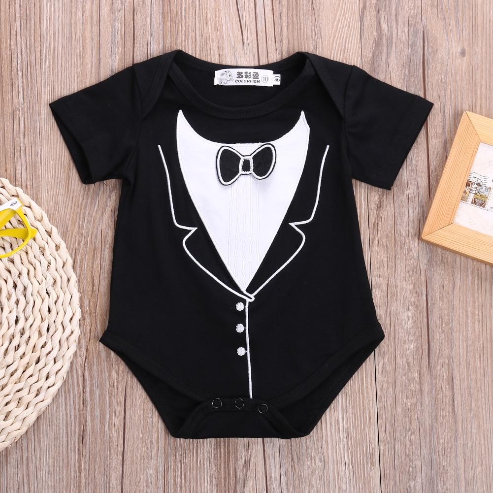 summer romper wholesale infant newborn baby girl boy tuxedo romper gentleman short sleeve clothes