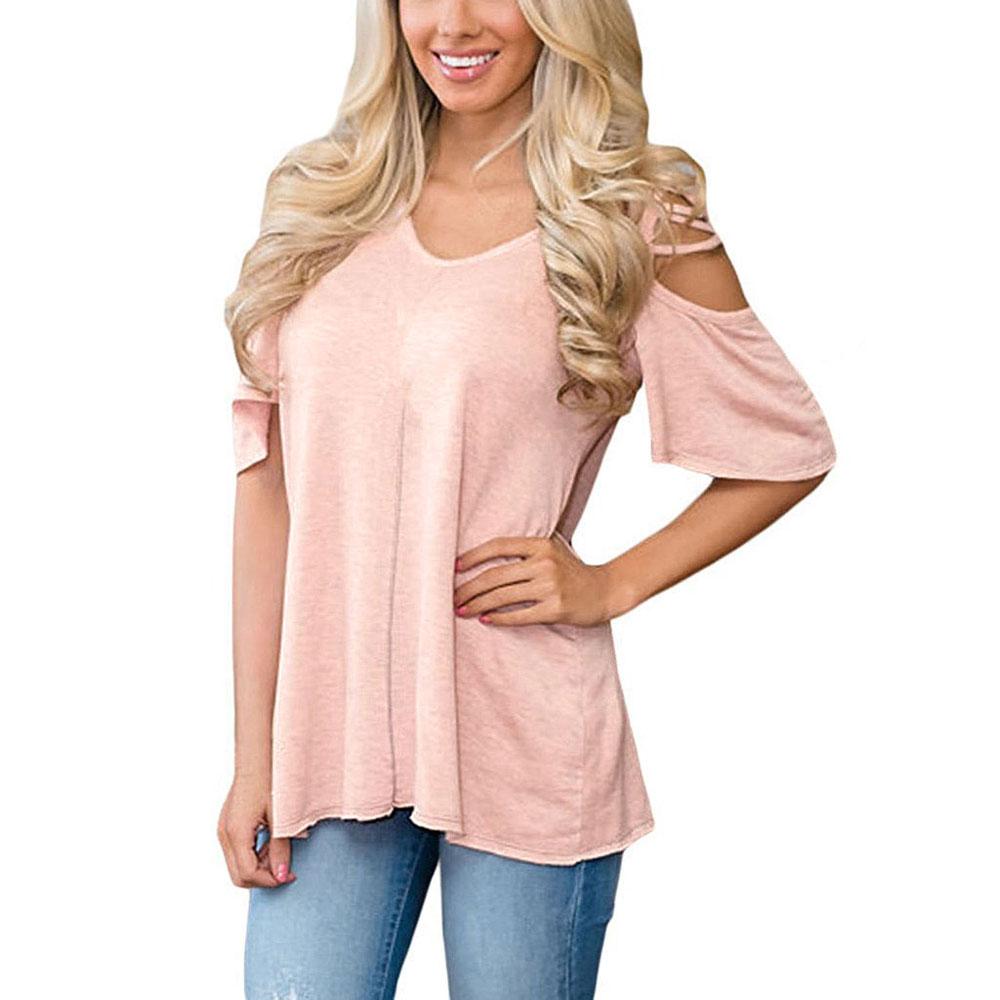 Women's V Neck T Shirts Casual Loose Hollow Out Shoulder Shirt Stretch Crisscross Short Sleeve Cold Shoulder Summer Top