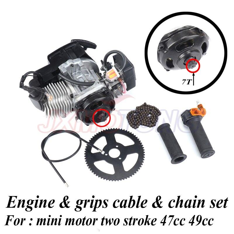 7 歯 47cc 49cc 2 ストロークプルスタートエンジン & グリップケーブル & チェーンセットキット 2 ストロークミニモーターダートバイク ATV ポケット  グループ上の 自動車 &バイク からの エンジン の中 1