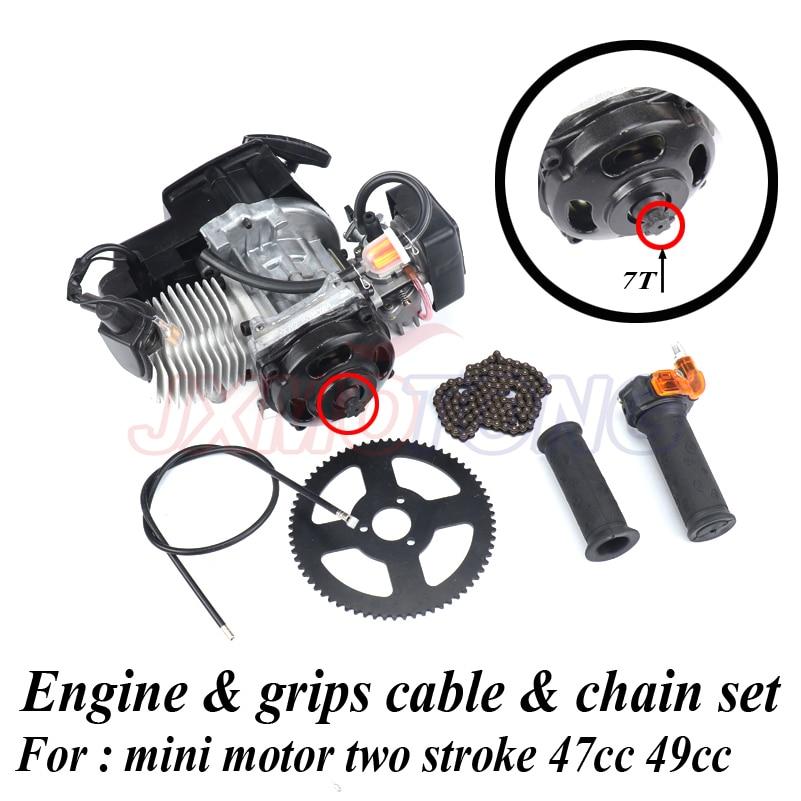 7 зубьев 47cc 49cc 2 тактный Тяговый Пусковой двигатель и захваты кабель и цепь набор для двухтактного мини мотора грязи велосипед ATV Карманный