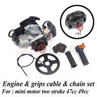 7 teeth 47cc 49cc 2 Stroke Pull Start Engine & grips cable & chain set kit For two stroke Mini motor Dirt Bike ATV Pocket