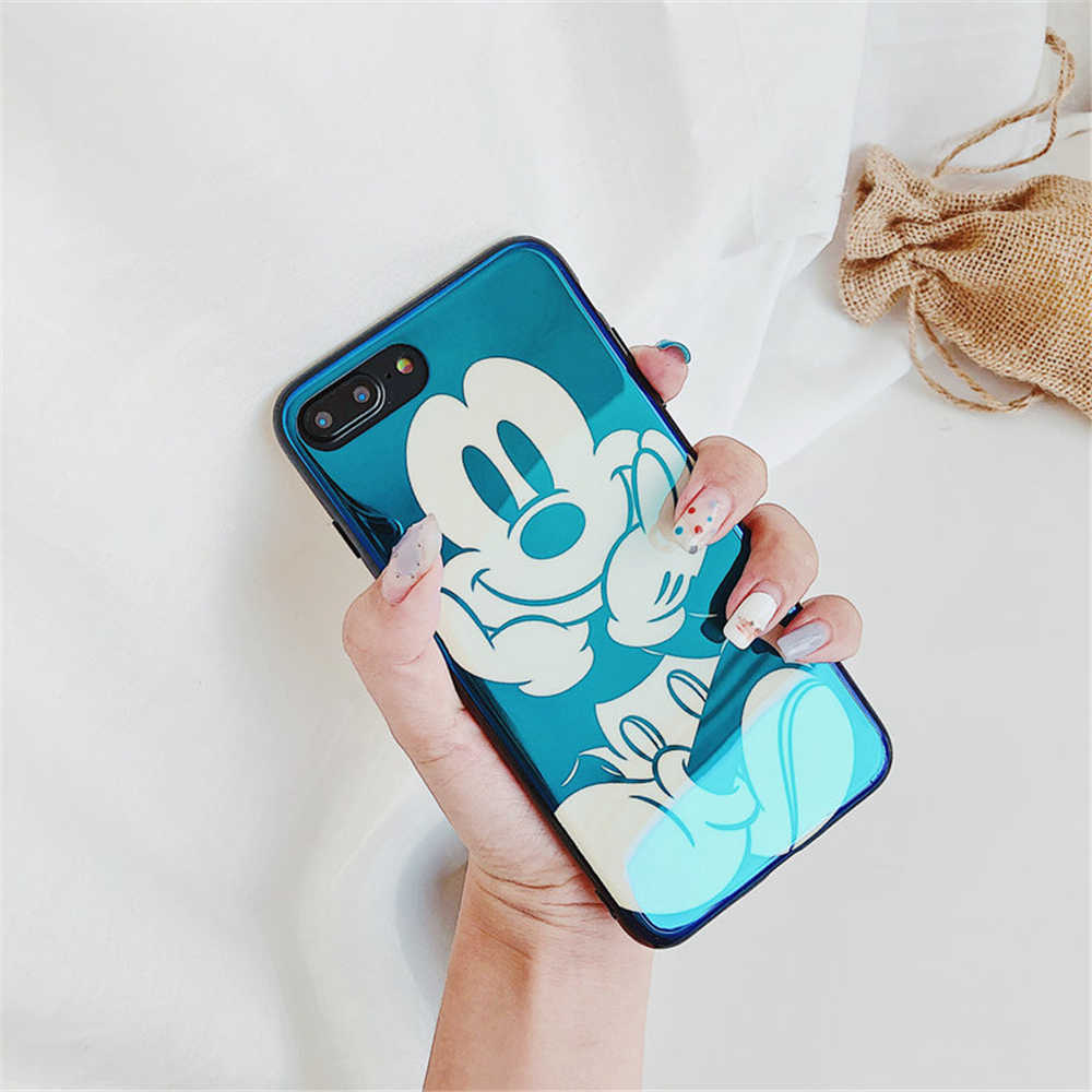 56972e61c44b48 ... Electroplate Blue Light Soft Phone Cover for iPhone X 6 6s 7 8 Cartoon  Minnie Mickey ...