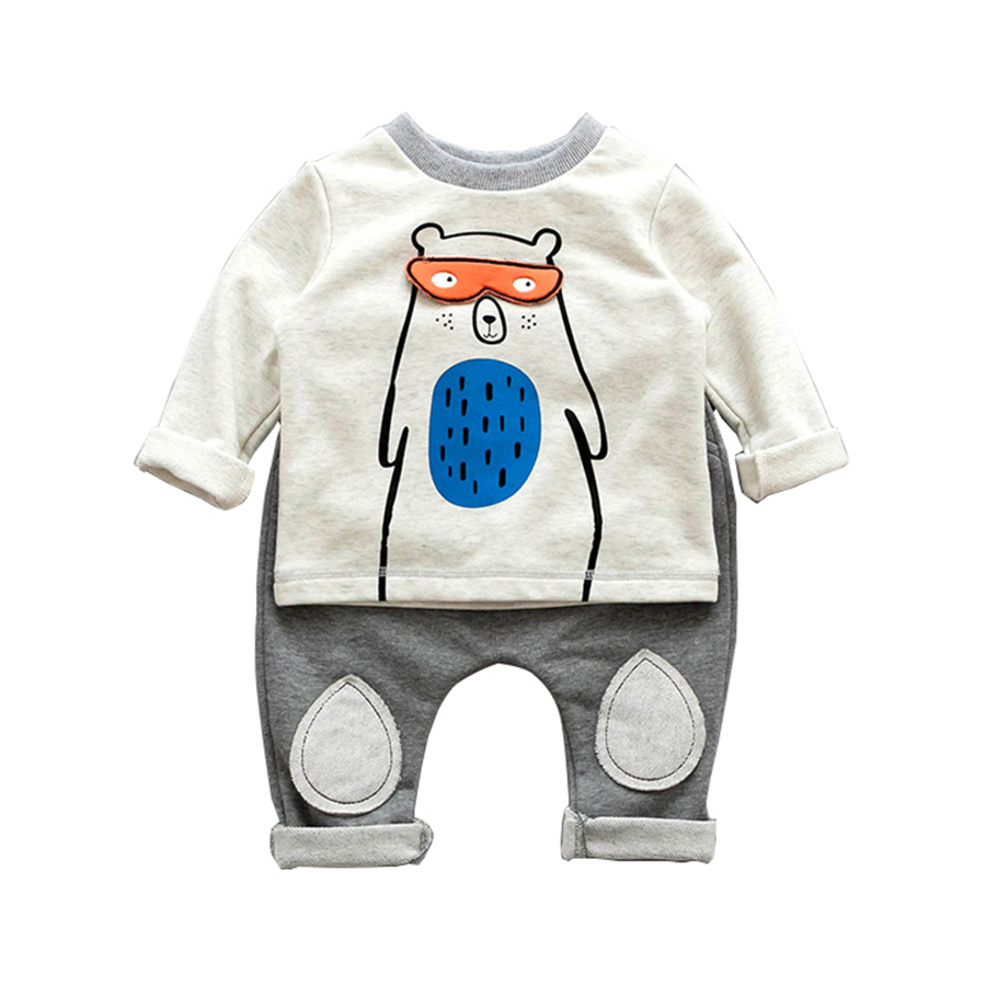 Fashion 2pcs/lot Baby Bear T Shirt And Pants Terry Cotton Baby Boy Clothes 6-24M roupa infantil Kids Tops Trousers Cool For Baby прогулочные коляски cool baby kdd 6699gb t
