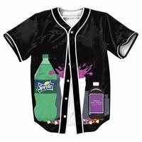 Soft Drink Black Mens Buttons Homme Baseball Jersey 3D Shirt Sport Streetwear Tees Shirts Hip Hop