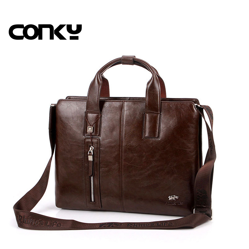 New brand men's briefcase vintage brown leather briefcase Business Shoulder Bags high Quality leather laptop briefcase bag business padfolio portfolio with letter size writing notepads deluxe executive vintage brown leather padfolio new