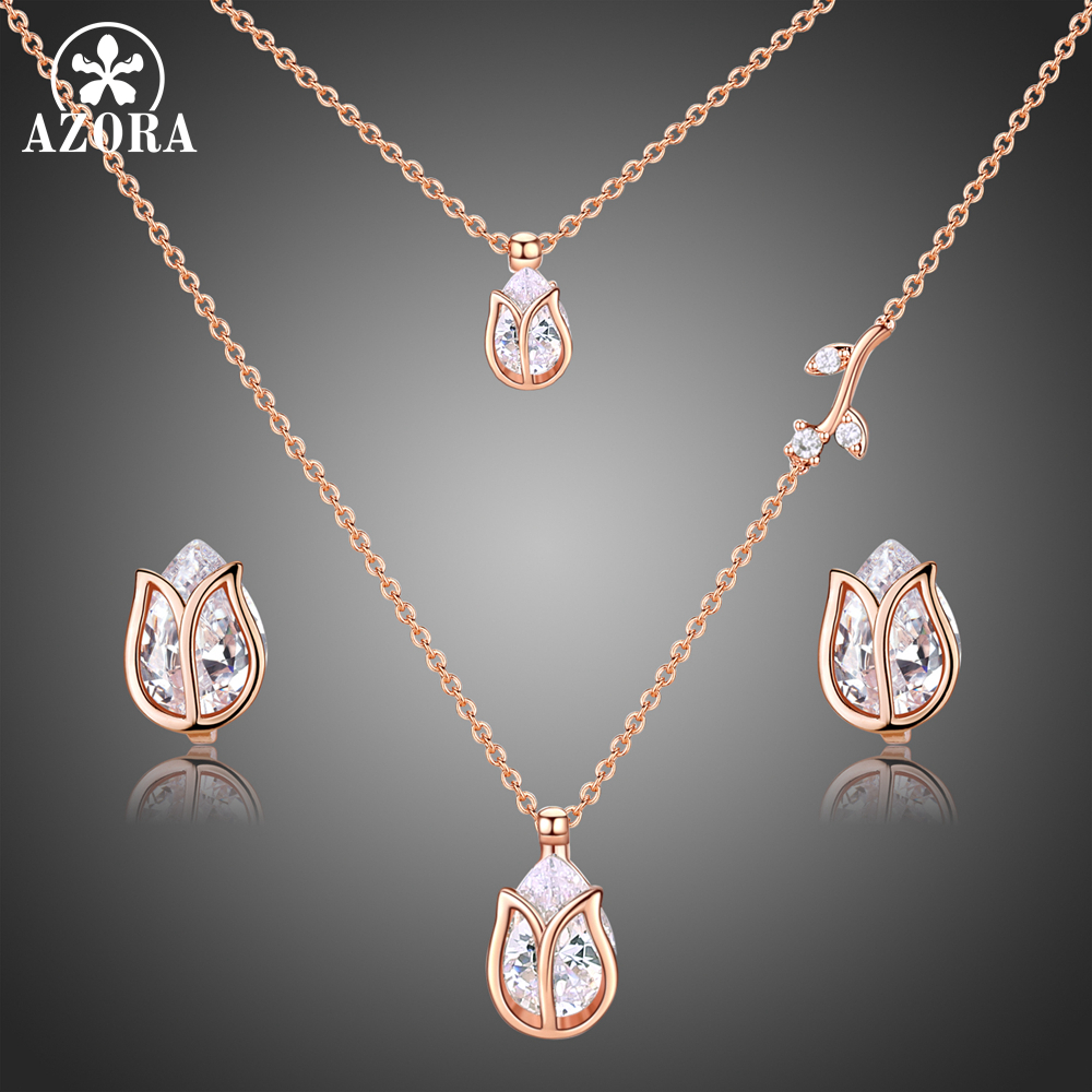 AZORA Lotus Rose Gold Color 1 Pair Stud Earrings and 1pcs Necklace Fashionable Jewelry Set for Women Cute Christmas Gift TG0273 pair of stylish rhinestone triangle stud earrings for women