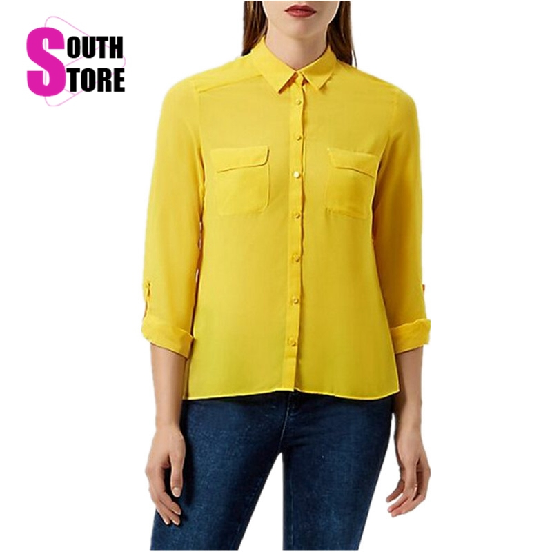 Blusas Femininas 2017 Fashion Big Pockets Casual Yellow